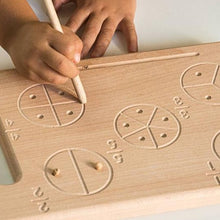 Load image into Gallery viewer, Fractions Tracing Board- Handmade Montessori Learning by Playing Materials