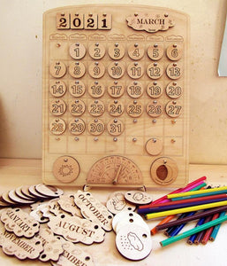 Wooden Calendar - Perpetual Montessori Learning by Playing Material