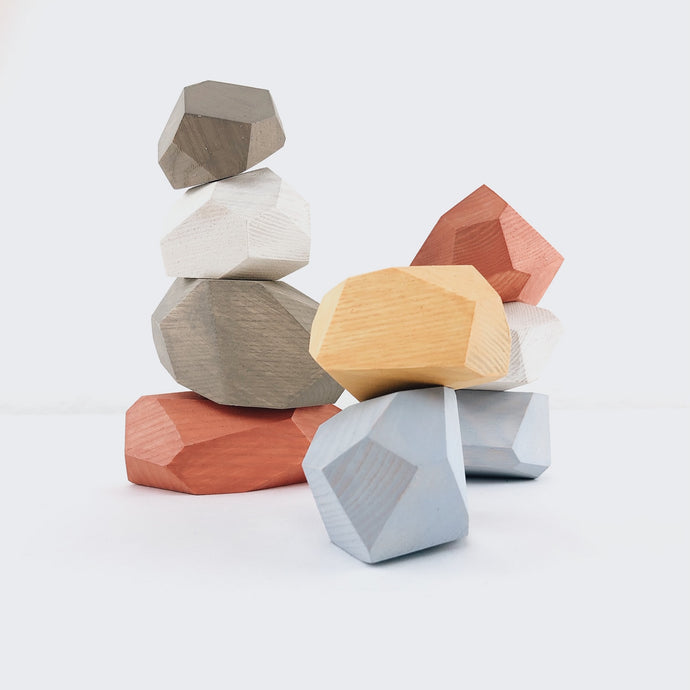 Pastel Balancing Stones - Wooden Handmade Stacking Open-ended Toy