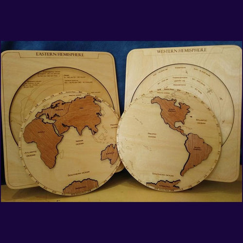 Hemispheres Map Puzzle- Montessori Learning by Playing Materials