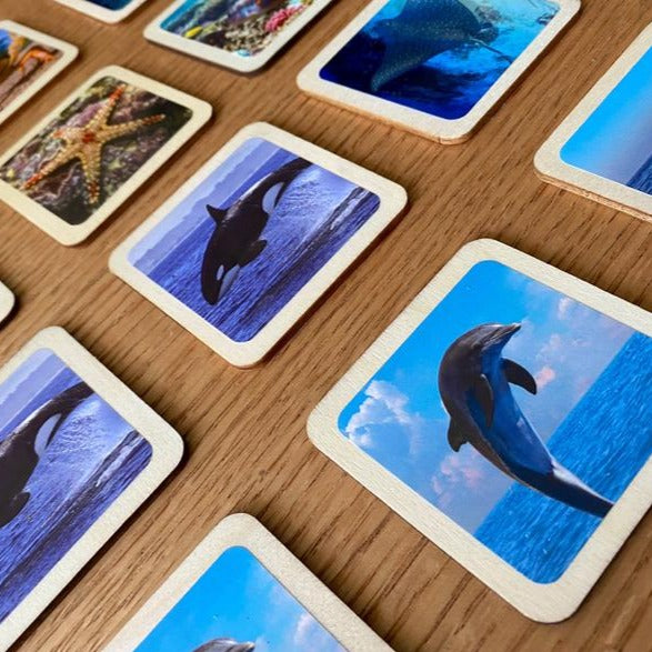 Sea Animals Memory Game - Wooden Handmade Montessori Material