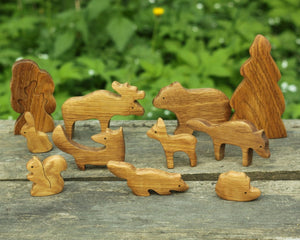 Nature Forest Animals Set - Wooden Handmade Montessori Open-ended Toy