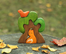 Load image into Gallery viewer, Tree with Fox and Bird - Wooden Handmade Montessori Open-ended Toy