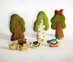 5 Ducks Family - Wooden Handmade Montessori Open-ended Toy