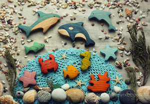 Sea Animals Set - Wooden Handmade Montessori Open-ended Toy
