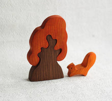 Load image into Gallery viewer, The Baby Squirrel and Autumn Oak Tree - Wooden Animal Handmade Montessori Open-ended Toy