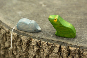 The Frog and The Mouse - Wooden Animal Handmade Montessori Open-ended Toy