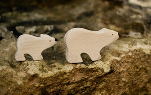 The Baby White Bear and its mom - Wooden Animal Handmade Montessori Open-ended Toy