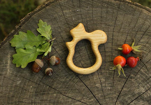 Squirrel Teether - Natural Wooden Handmade Eco-Friendly Pacifier