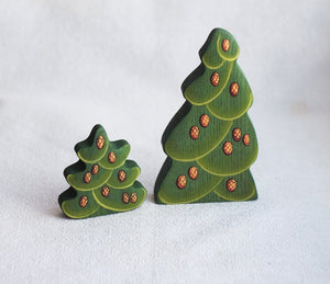 Big and Small Fir Tree with Cones - Wooden Handmade Montessori Open-ended Toy