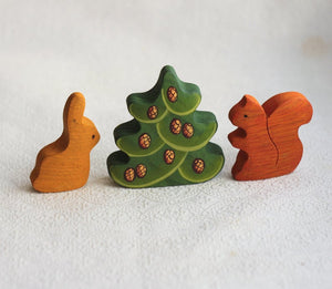 Small Fir Tree with Cones - Wooden Handmade Montessori Open-ended Toy