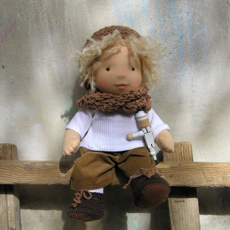 Lev Waldorf Boy Big Doll - Unique handmade toy