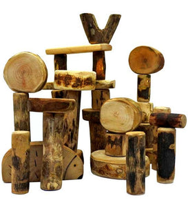 36 Handmade Natural Wooden Building Blocks Waldorf Unique Toy