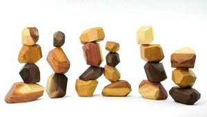 22 Pieces Wooden Tumi Ishi Set Handmade Stacking Stone -Open-ended Toy