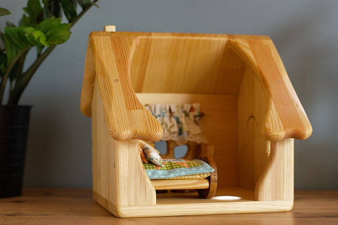 Wooden dollhouse with furnitures and gnome - Handmade Unique toy