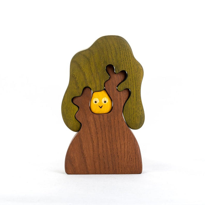 Autumn Tree with Owl - Wooden Handmade Montessori Open-ended Toy