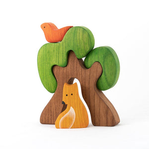 Tree with Fox and Bird - Wooden Handmade Montessori Open-ended Toy