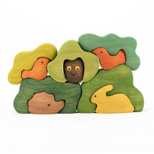 Forest Hide-And-Seek Puzzle -Wooden Handmade Montessori Open-ended Toy