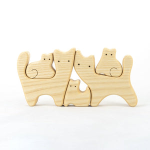 Nature Cats Family of 5 - Wooden Handmade Montessori Open-ended Toy