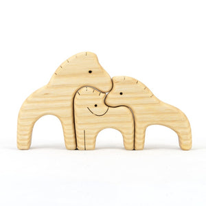 Nature Horses Family Puzzle -Wooden Handmade Montessori Open-ended Toy