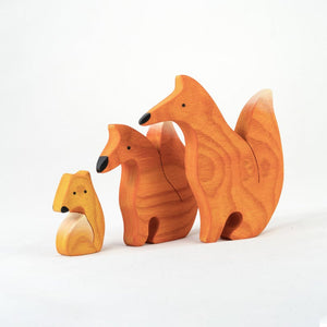 Foxes Family Puzzle - Wooden Handmade Montessori Open-ended Toy