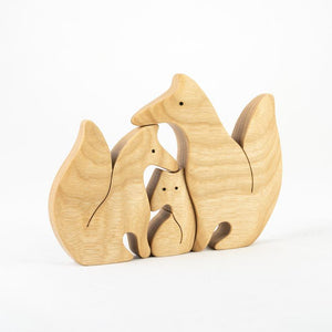 Nature Foxes Family Puzzle - Wooden Handmade Montessori Open-ended Toy