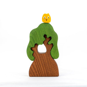 Tree with Owl - Wooden Handmade Montessori Open-ended Toy