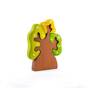 Olive Tree with Flowers - Wooden Handmade Montessori Open-ended Toy