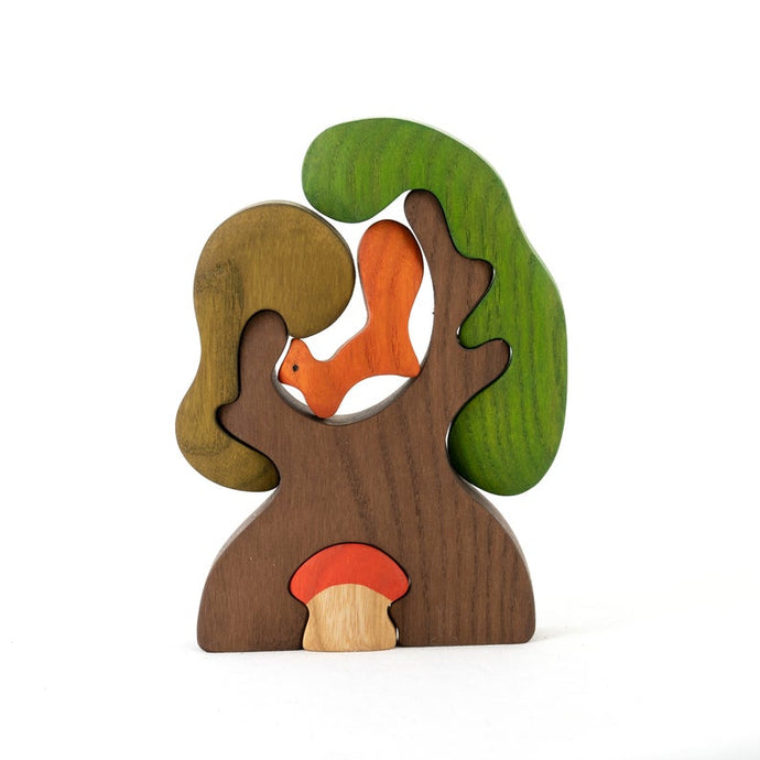 Tree with Squirrel and Mushroom - Wooden Handmade Open-ended Toy