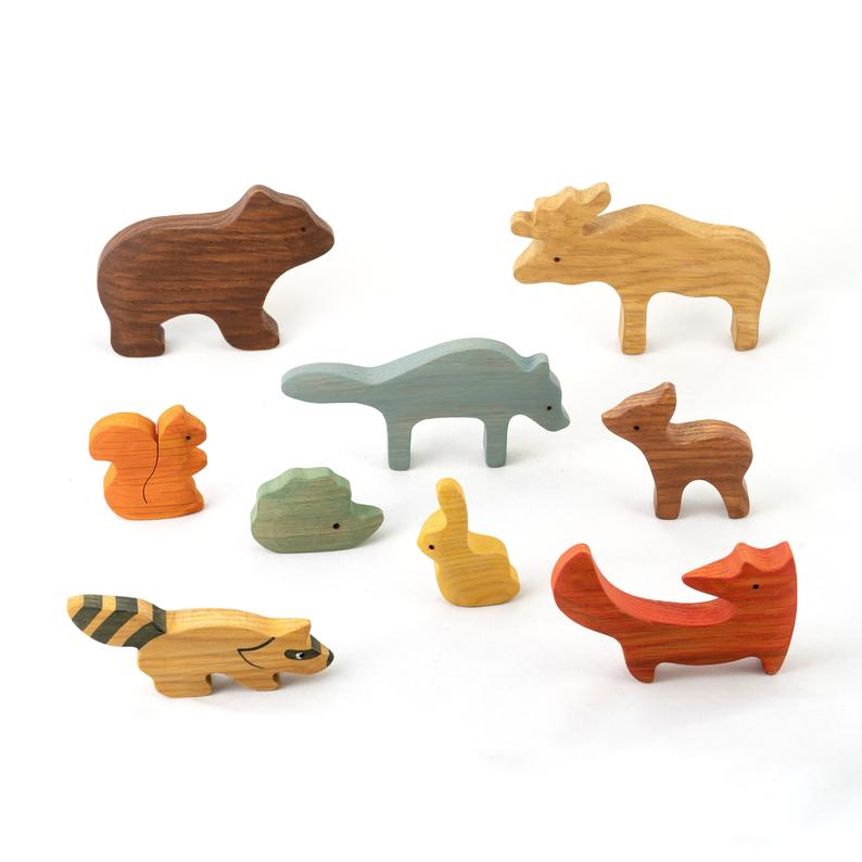 Forest Animals Set - Wooden Handmade Montessori Open-ended Toy