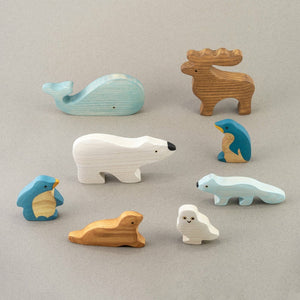 Polar Animals Set - Wooden Handmade Montessori Open-ended Toy