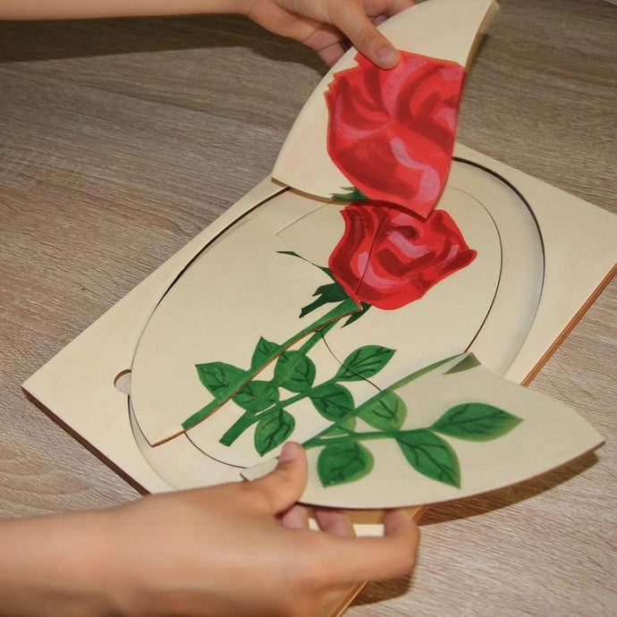 Rose Life Cycle Puzzle- Handmade Montessori Learning by Playing Materials