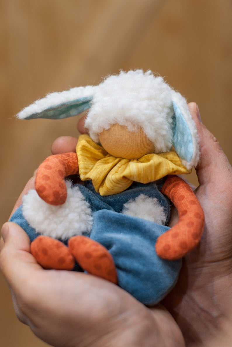 Sheep Waldorf First Doll - Unique handmade toy