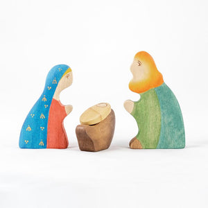 Holy Family Nativity Scene - Christmas Wooden Handmade Figures
