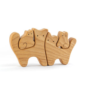 Nature Cats Family of 4 - Wooden Handmade Montessori Open-ended Toy