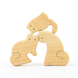 Nature Cats Family of 3 - Wooden Handmade Montessori Open-ended Toy