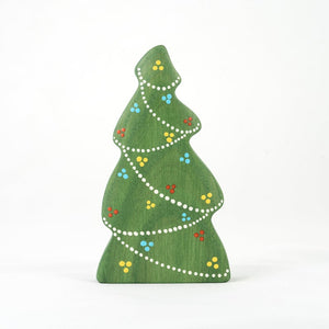 Christmas Tree with Garlands - Wooden Handmade Figures