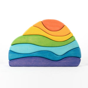 Rainbow Stone Puzzle- Wooden Handmade Stacking Open-ended Toy