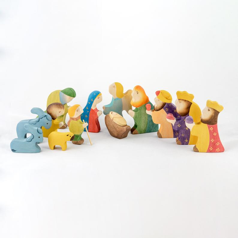 The Complete Nativity Scene Set - Christmas Wooden Handmade Figures