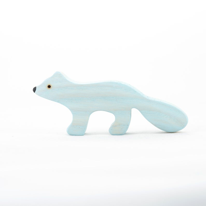 The Arctic Fox -Wooden Polar Animal Handmade Montessori Open-ended Toy