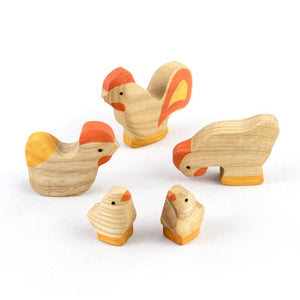 Hens, Chicks and Cock Family-Wooden Handmade Montessori Open-ended Toy