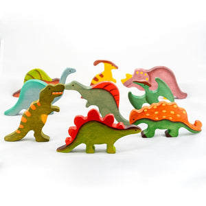 Dinosaurs Big Set - Wooden Handmade Montessori Open-ended Toy