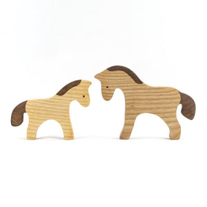 Horse Mom and Foal - Wooden Handmade Montessori Open-ended Toy