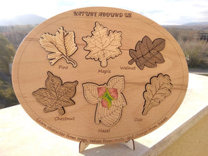 Wooden Trees Leaves Puzzle - Montessori Learning by Playing Materials