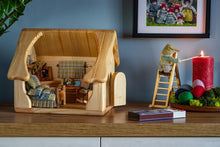 Load image into Gallery viewer, Wooden dollhouse with furnitures & custom textile -Unique handmade toy