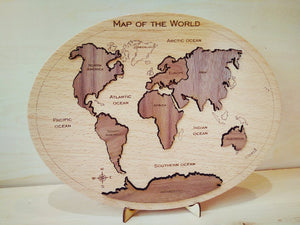 World Map Puzzle - Montessori Learning by Playing Materials