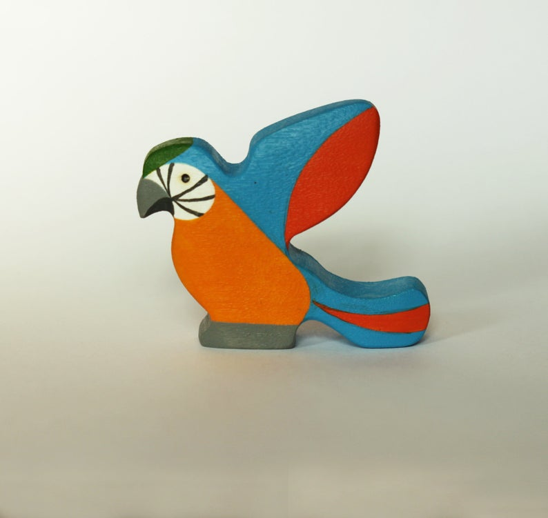 The Orange Ara Parrot - Wooden Bird Handmade Montessori Open-ended Toy