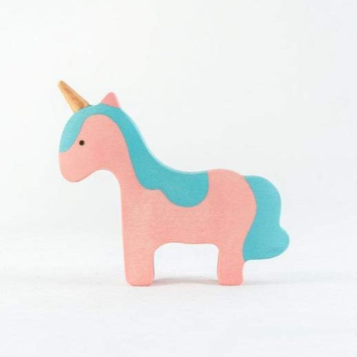 Blue-Maned Baby Unicorn - Wooden Handmade Open-ended Toy