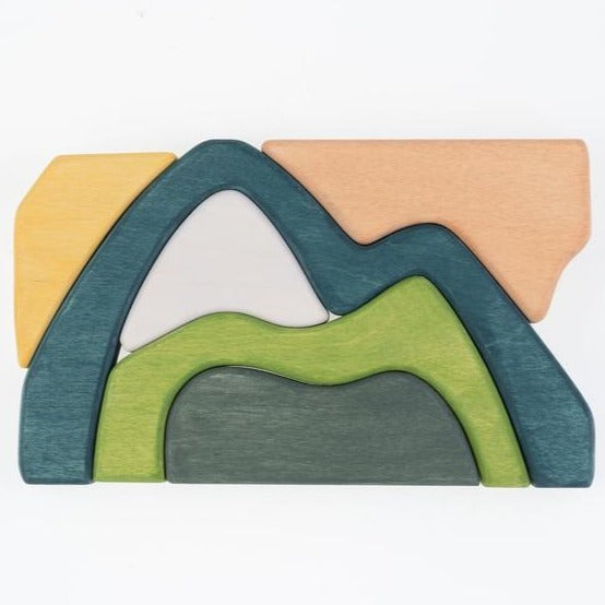 Mountains Puzzle- Wooden Handmade Stacking Open-ended Toy