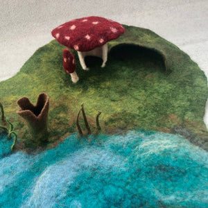 Mushroom House Playmat  - Handmade for Imaginative and Open-ended Play